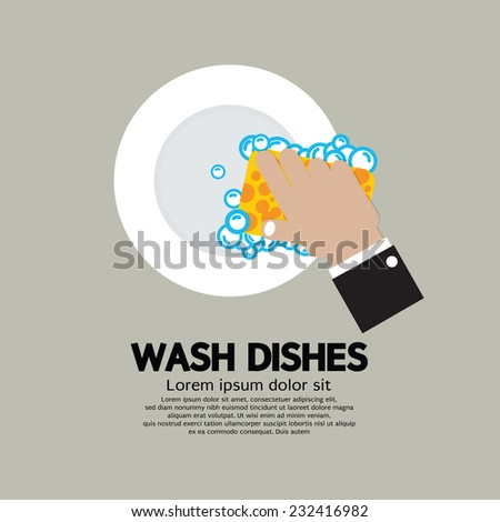 Hand Washing Dishes With Sponge Vector Illustration - stock vector