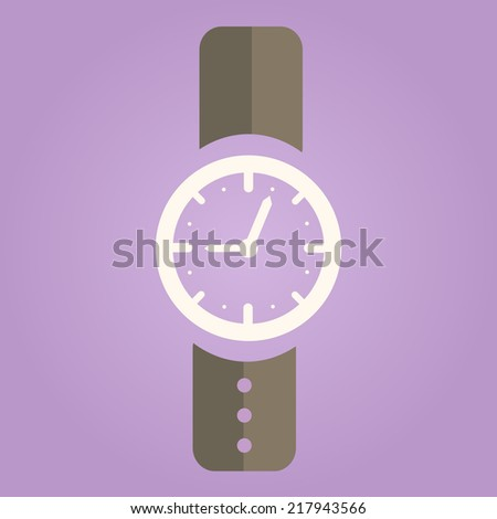 Hand Watch Icon on Purple Background. Flat Design Vector - stock vector