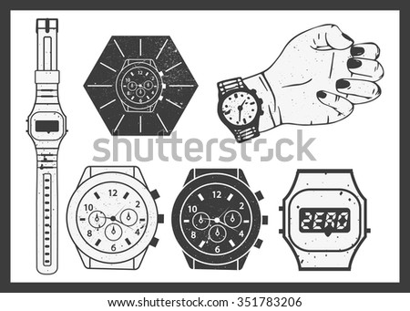 Hand watches vector set. Electronic and classic mechanical watch. - stock vector
