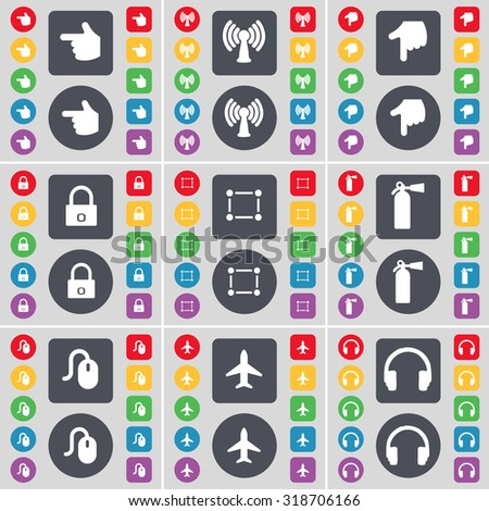 Hand, Wi-Fi, Hand, Lock, Frame, Fire extinguisher, Mouse, Airplane, Headphones icon symbol. A large set of flat, colored buttons for your design. Vector illustration - stock vector