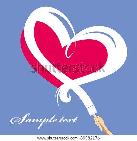 Hand with a brush paints a white heart on a pink background - stock vector