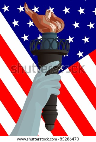 Hand with a burning torch against the U.S. flag