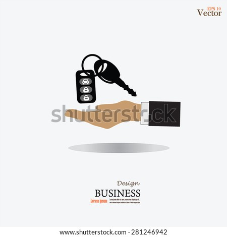 Hand with a car key.key car.vector illustration. - stock vector