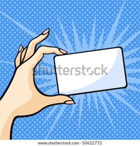 Hand with a card - stock vector