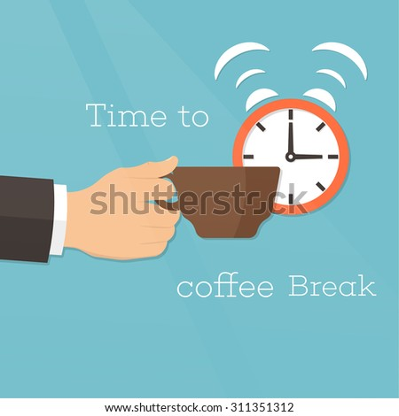 Hand with a coffee cup and alarm clock on a radiant background. Concept of a break and rest. Time to coffee break. Vector element of graphical design - stock vector