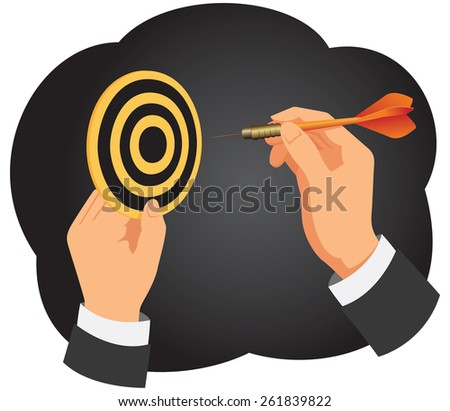 Hand with a dart is aiming at a dartboard on a dark background - stock vector
