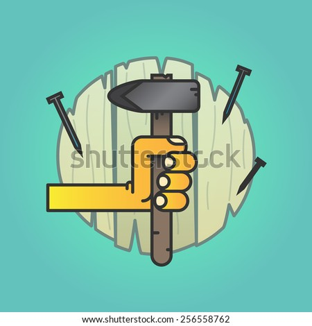 Hand with a hammer on a wooden texture with nails, vector background - stock vector