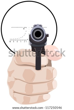 Hand with a pistol against the sniper scope. The illustration on a white background. - stock vector