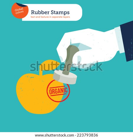 Hand with a stamp organic. Vector illustration Eps10 file. Global colors. Text and Texture in separate layers. - stock vector