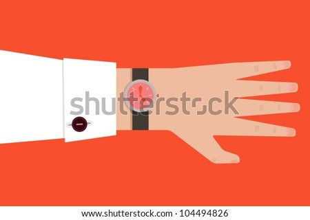 Hand with a wrist watch - stock vector