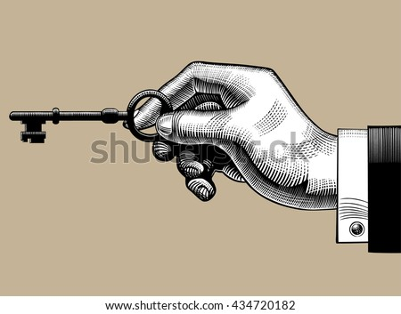 Hand with an old key. Retro style unlock sign and icon. Vintage engraving stylized drawing. Vector illustration - stock vector