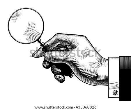 Hand with an old magnifying glass. Retro style search sign and icon. Vintage engraving stylized drawing. Vector illustration - stock vector