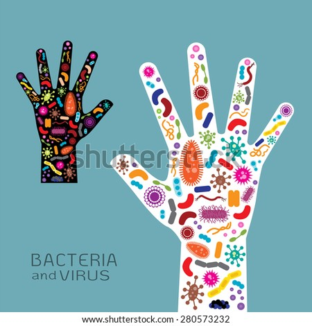 Hand  with bacteria and virus  - stock vector