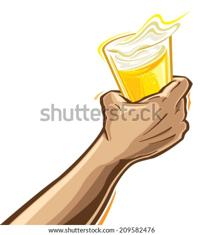 Hand with beer - stock vector