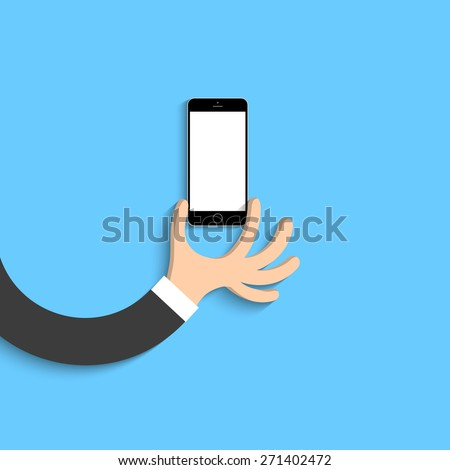 Hand with black smartphone in cartoon style. Vector EPS10 - stock vector