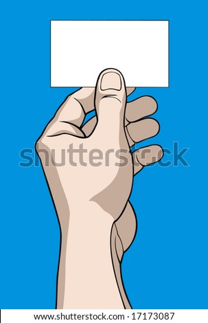 Hand with business card on blue