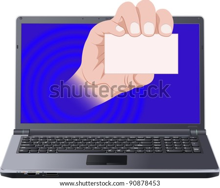 hand with card out laptop screen