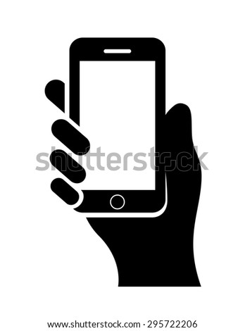 Hand with cell phone - stock vector