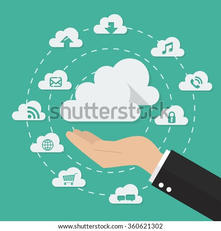 Hand with cloud computing technology concept. Icon set collection - stock vector