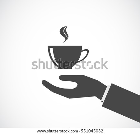 hand with coffee cup black icon