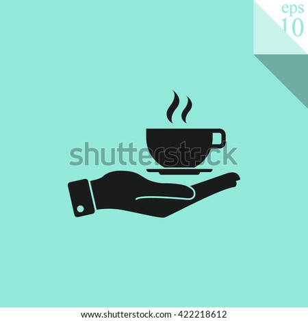 Hand with coffee cup Icon.  - stock vector
