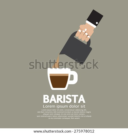Hand With Coffee Pouring Jug Barista Concept - stock vector