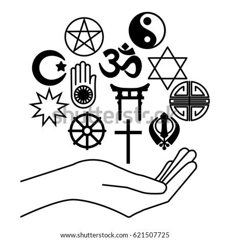 Hand Combination Religious Symbols Symbols Major Stock Vector