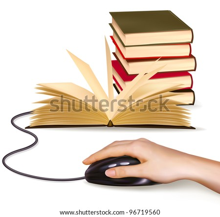 Hand with computer mouse and books. Vector illustration.