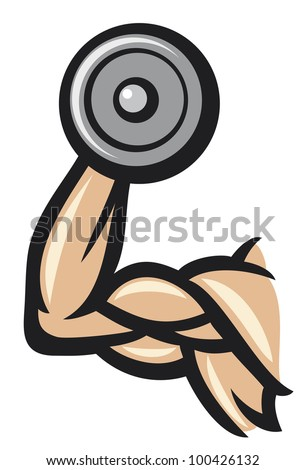 hand with dumbbells (hand lifting weight, fitness icon) - stock vector
