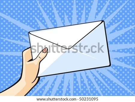 Hand with envelope - stock vector