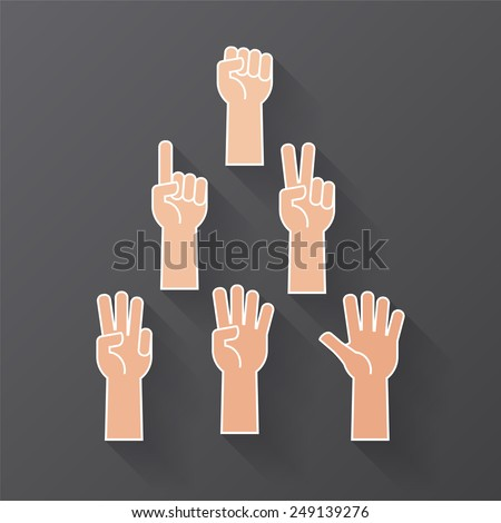 Hand with Forearm Icons Set, Numbers Counting Flat Design - stock vector