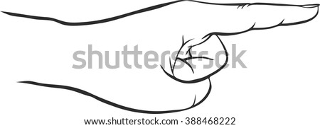 hand with forefinger, index finger, hand drawn vector icon - stock vector