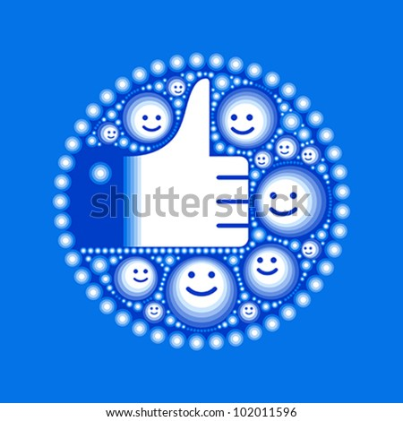 Hand with happy smiley faces and circles in blue - stock vector