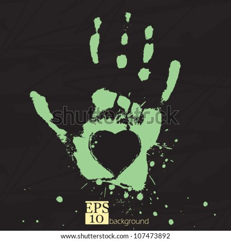 Hand with heart, concept of people's feelings and help, grunge stylized vector - stock vector