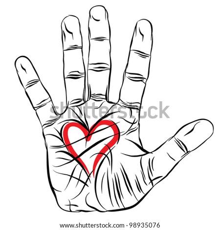Hand with heart, love symbol, vector. - stock vector