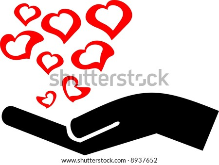 Hand with hearts - stock vector