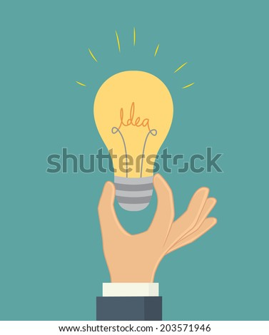 Hand with idea bulb. Business concept - stock vector
