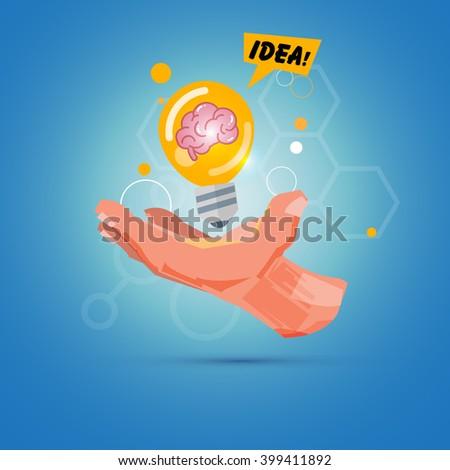 Hand with light bulb of idea. creativity concept - vector illustration - stock vector