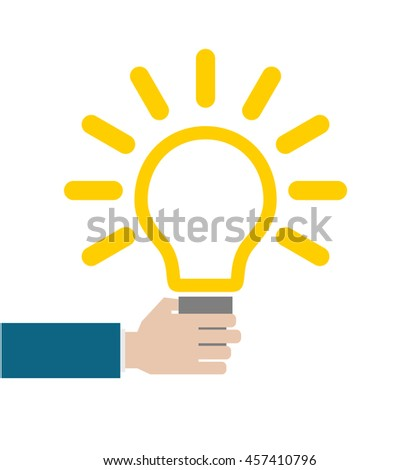 hand with lightbulb conceptual business icon - stock vector