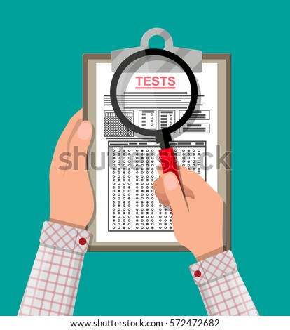 Hand with magnifying glass holding clipboard with exam test answer sheet. Flat style vector illustration