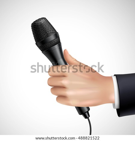 Hand with microphone realistic image detail poster with journalist or reporter at press conference interview vector illustration