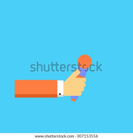 Hand with microphone. Vector illustration. - stock vector