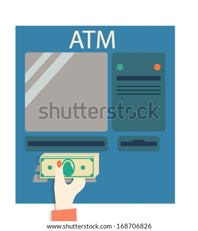 Hand with money.  ATM - stock vector