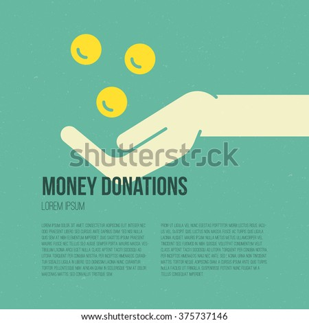 Hand with money - charity or donation concept. Flyer or banner template with place for your text. - stock vector