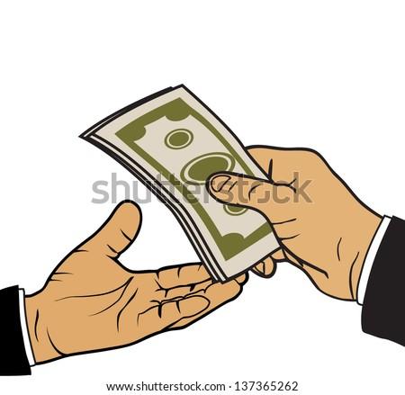 hand with money,money transfer vector - stock vector