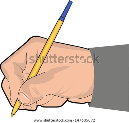 Hand with pen - stock vector