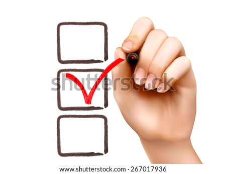 Hand with pen and check boxes. Vector illustration - stock vector