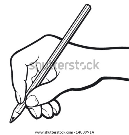 Hand with pencil. Black and white. - stock vector
