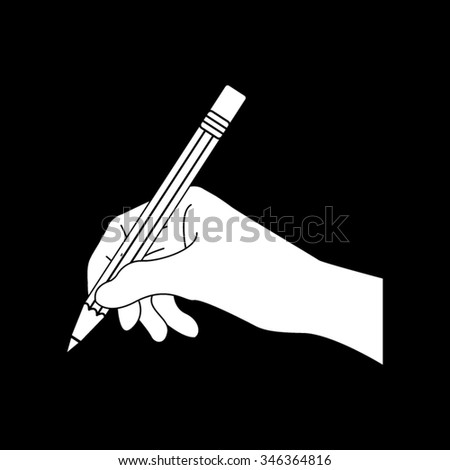 hand with pencil vector icon isolated on black - stock vector