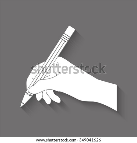 hand with pencil vector icon with shadow - stock vector